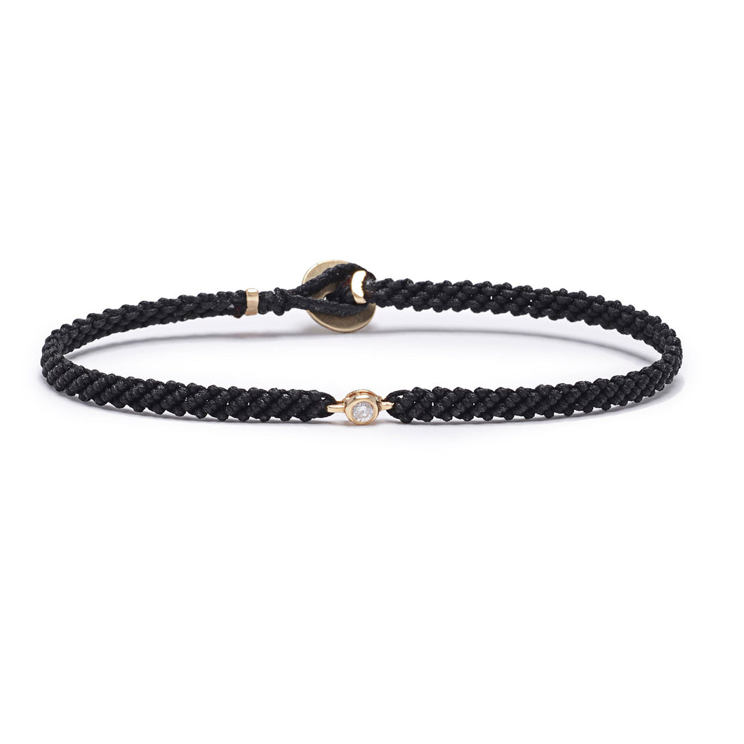 Classic black  woven bracelet with diamond