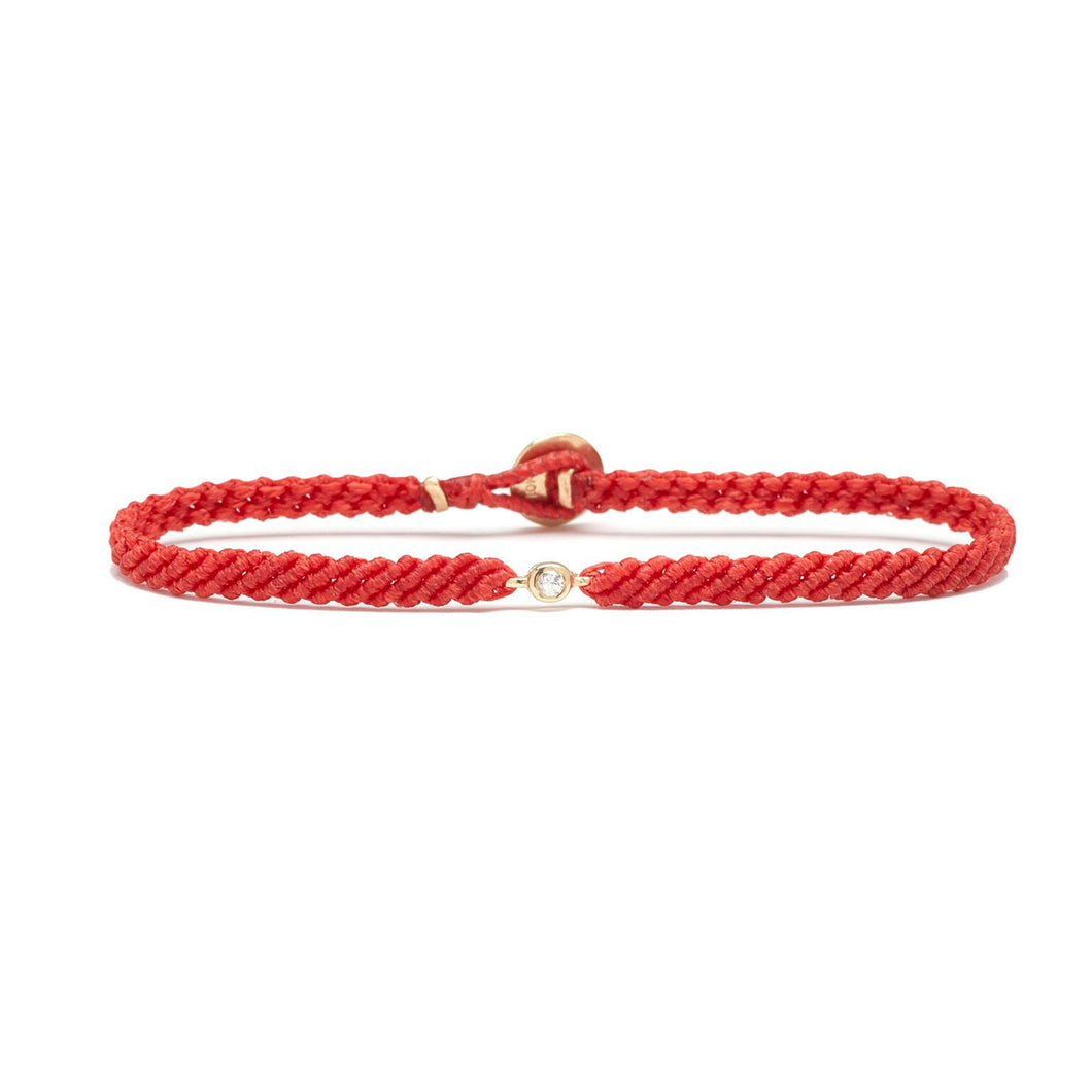 Classic red woven bracelet with diamond
