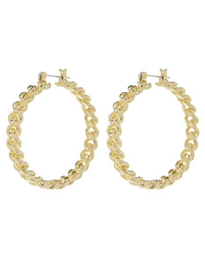 Cuban Link Yellow Gold Hoop