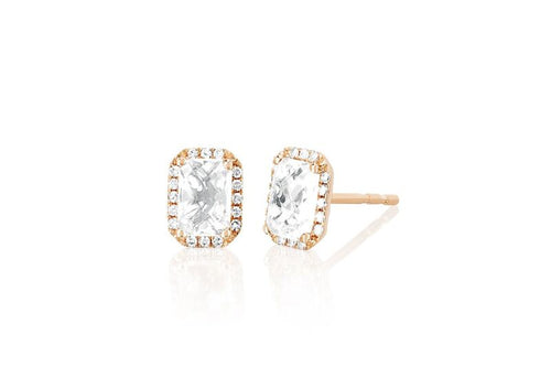 Diamond and White Emerald Topaz Cut Stud Earring