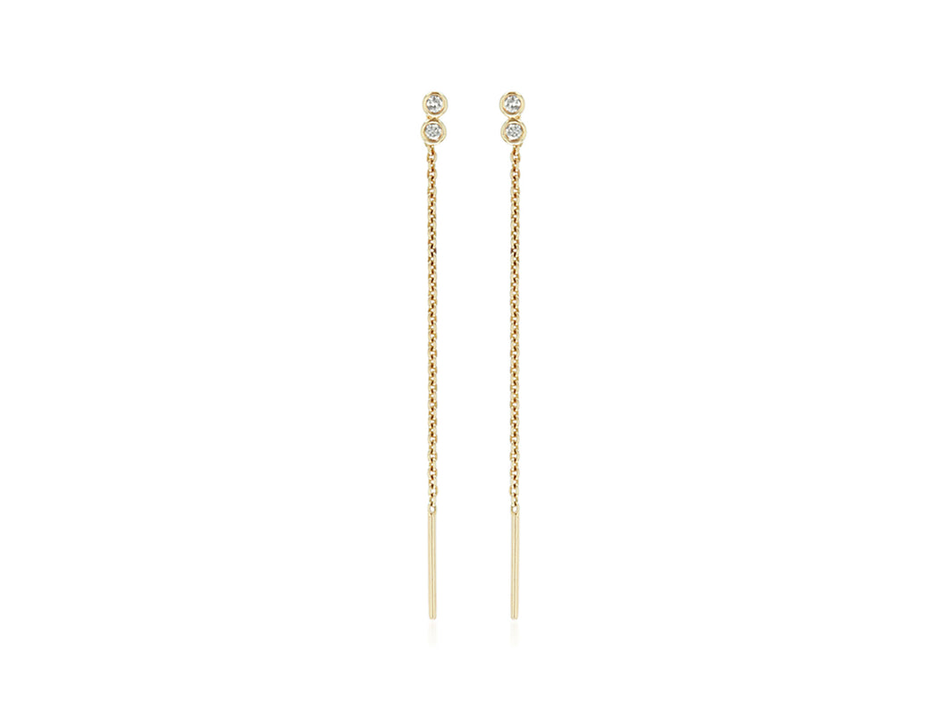 Diamond bezel threader earring