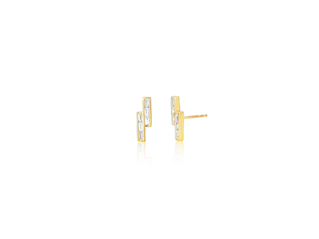 Diamond Baguette Bypass Stud Earrings