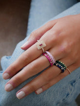 Diamond and pink sapphire dot band