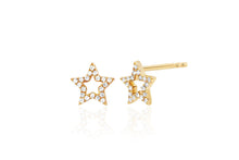 Diamond open star earring