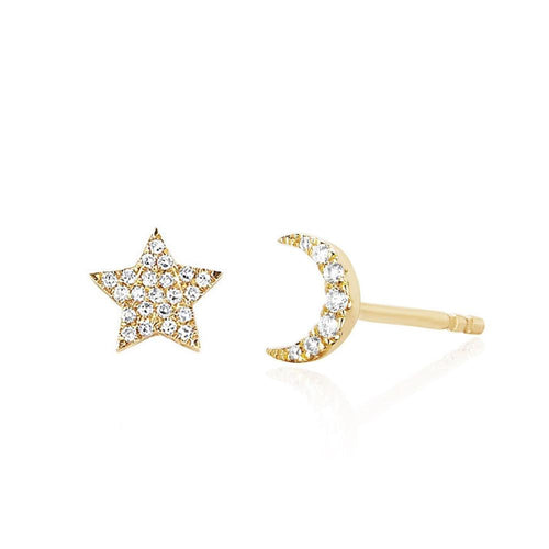 Diamond Mini Moon and Star Stud Earring