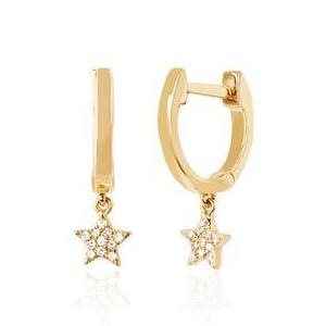 Gold Mini Huggie with Diamond Star Drop Earring