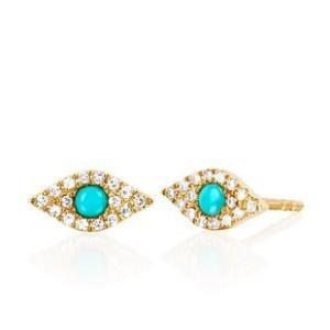 Diamond Turquoise and Diamond Eye Earring