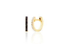 Diamond and Black Diamond Reversible Mini Huggie Earring