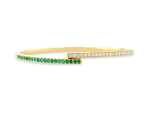 Emerald and diamond bypass bracelet