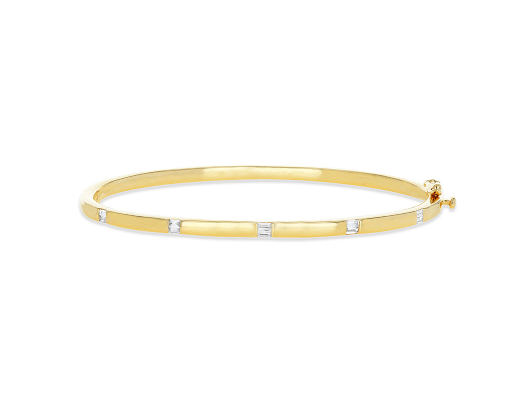 Gold Bangle with diamond baguettes stations