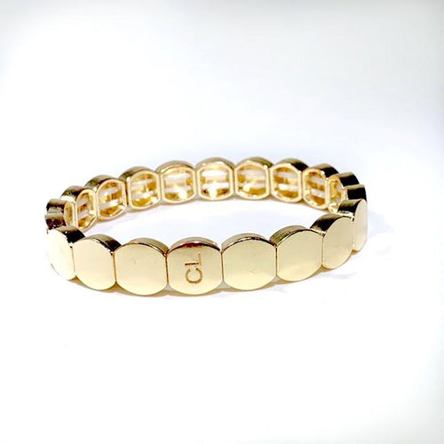 Gold round stretch bracelet