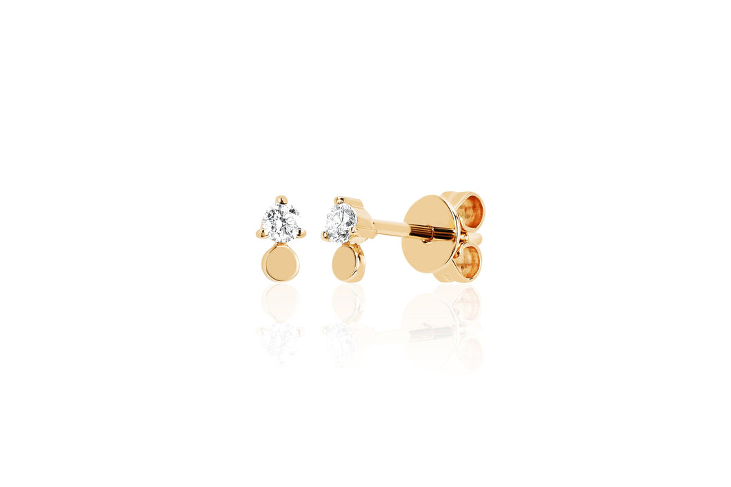 Gold Disc with Prong Set Diamond Stud
