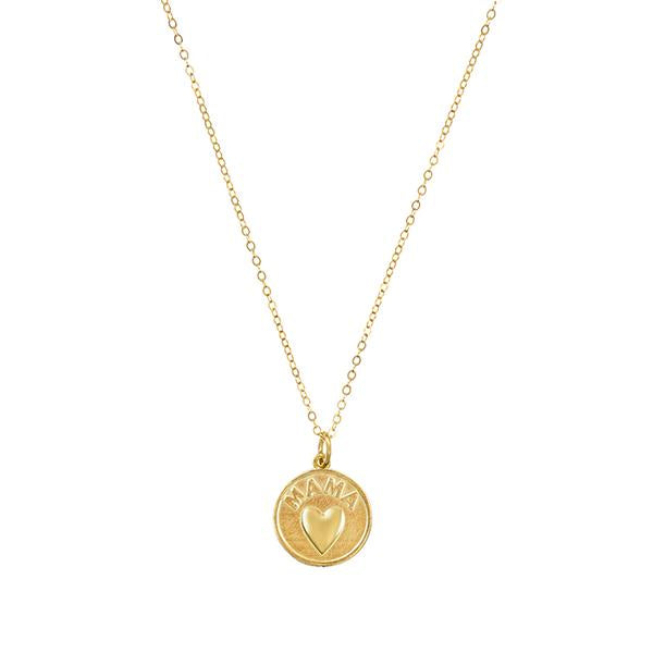 Round Mama Heart Coin Necklace