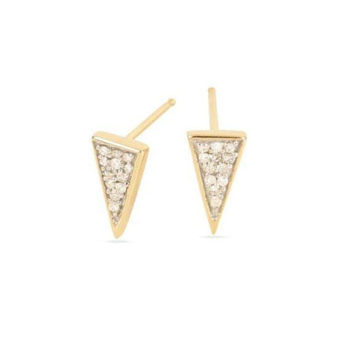 Diamond Super Tiny Long Pave Triangle Stud Earrings