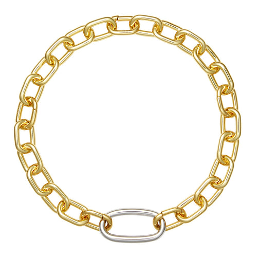 Interchangeable Oval Link Necklace in Gold