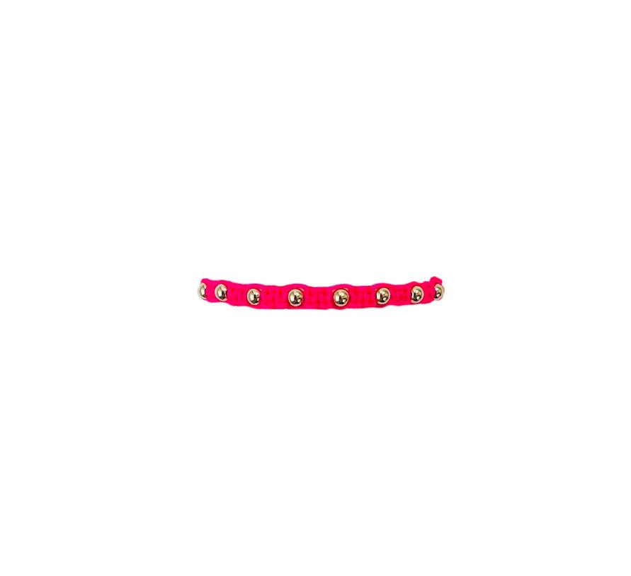 Kids Neon Fuchsia Macrame Bracelet with Yellow Gold Filled Beads