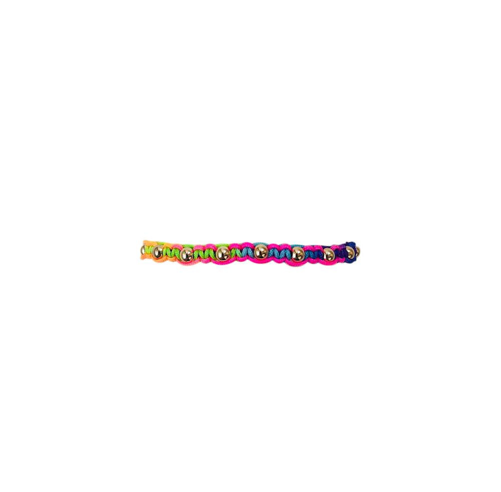 Kids Neon Rainbow Macrame Bracelet with Yellow Gold Filled Beads
