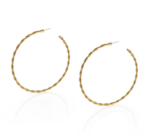 Large Gold Twisted Hoop