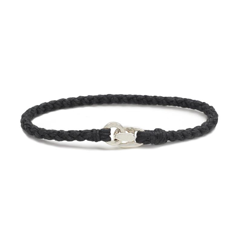 Single Wrap Bracelet in Silver and Black