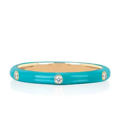 3 Diamond Enamel Stack Ring Turquoise