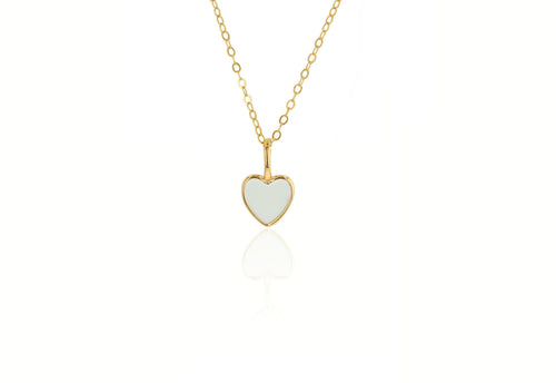 Mini White Enamel Heart Charm
