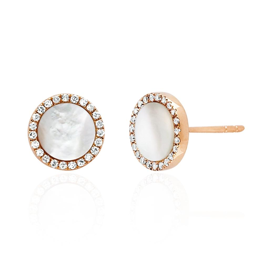 Mother of Pearl Diamond Disc Studs