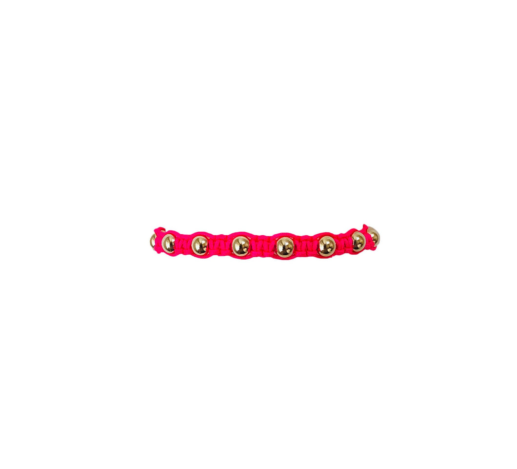 Neon Fuchsia Macrame Bracelet with Yellow Gold Filled Beads