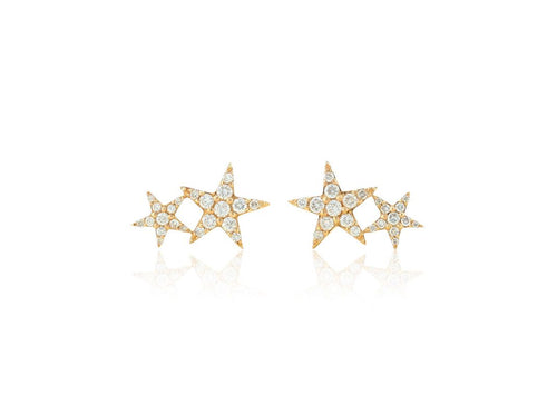 Diamond Double Star Earrings