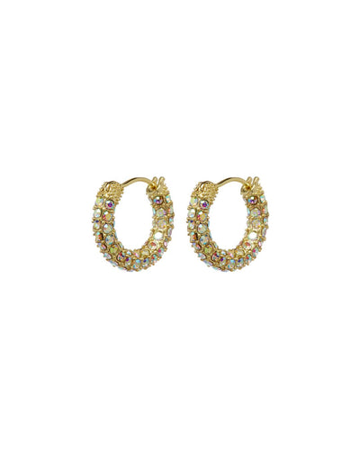 Pave Amalfi Huggies Yellow Gold with Crystals