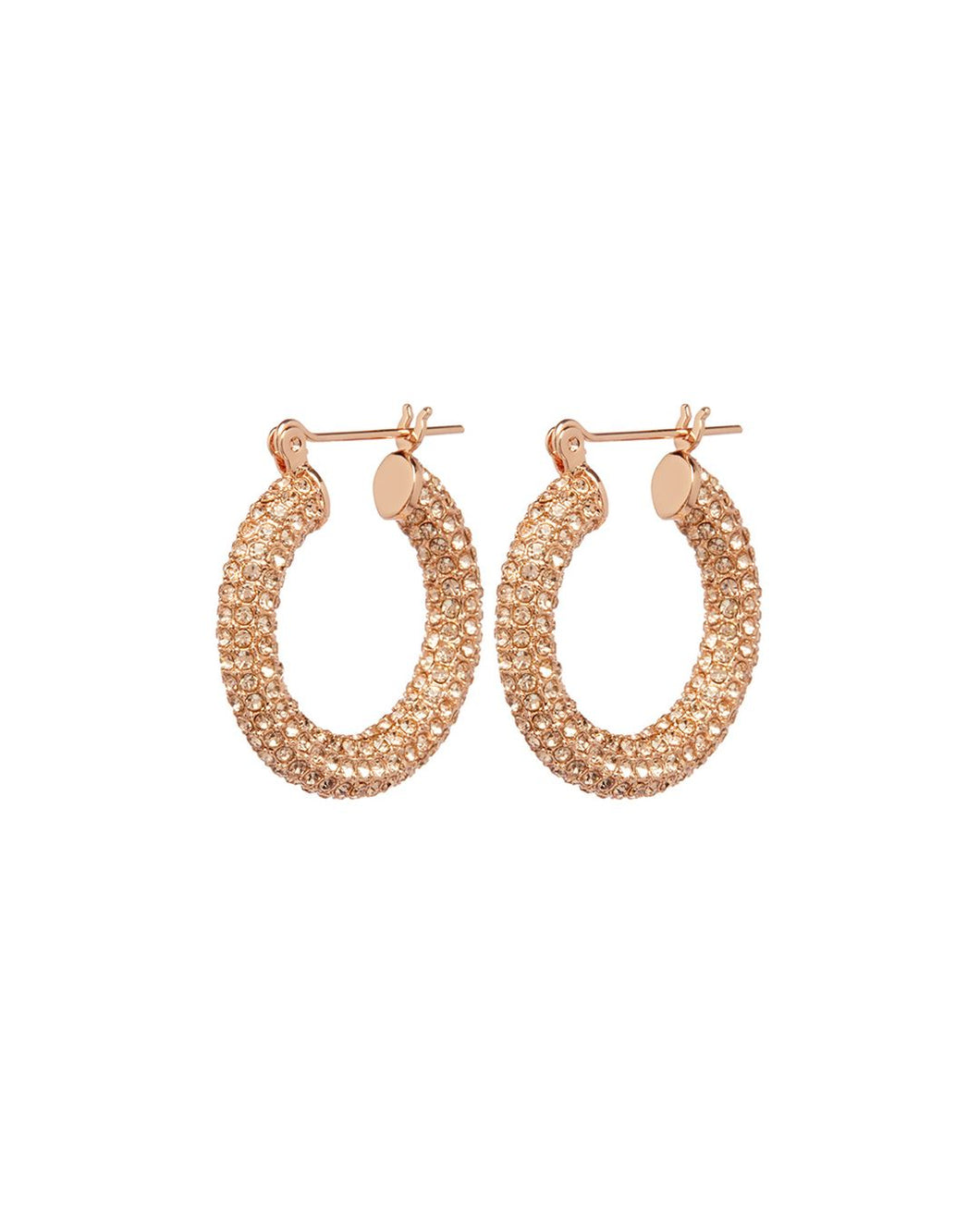 Pave Baby Amalfi Hoops in Rose Gold with Peach Crystals