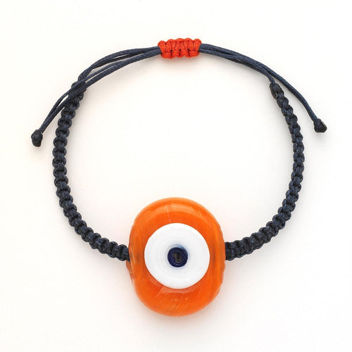 Pumpkin Glass Evil Eye Bracelet