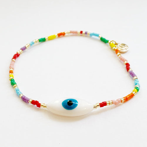 Rainbow oval eye stretch bracelet