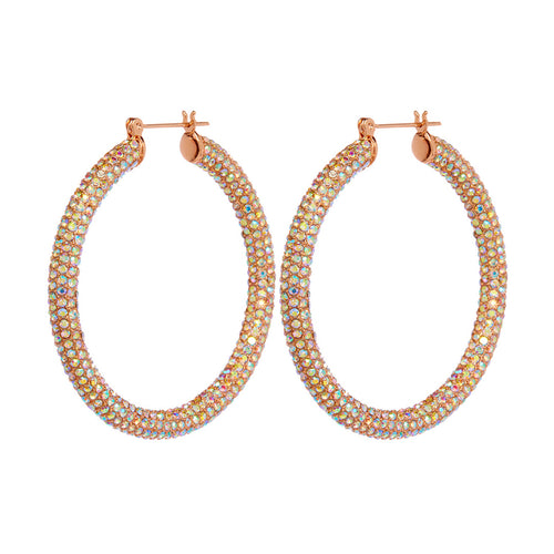 Rose gold rainbow crystal pave Amalfi hoop