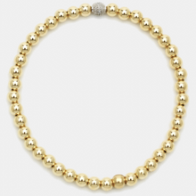 3mm Gold Beaded Bracelet with Diamond Ball