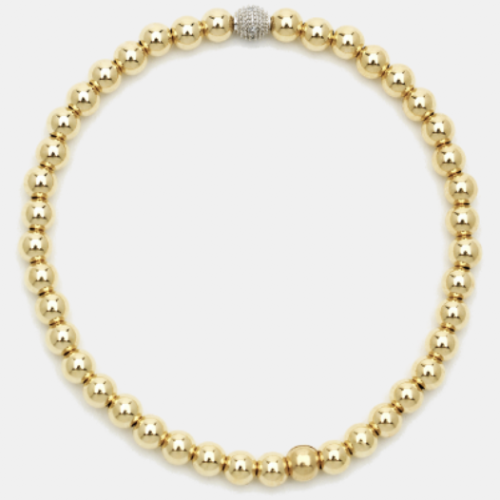 Gold and Diamond 3mm Bead Bracelet