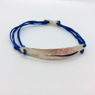 Silver double bar bracelet with blue thread