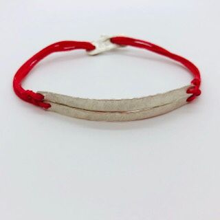 Silver double bar bracelet with red thread