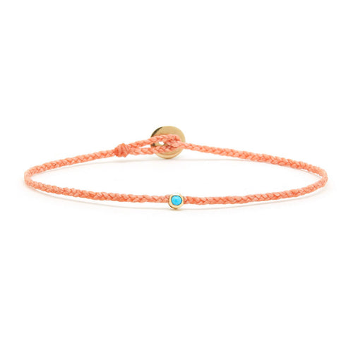 Thin peach woven bracelet with turquoise