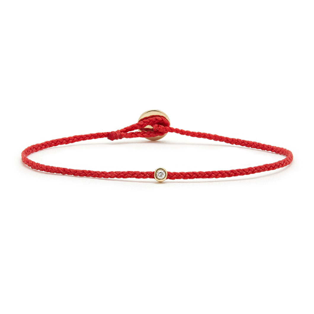 Thin red woven bracelet with lab diamond