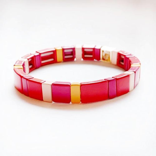 Tile Bracelet red/pink/orange