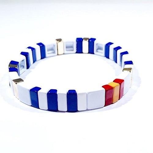 Tile Bracelet White/Blue/Orange/Red