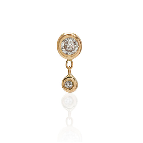 Tiny bezel stud with diamonds