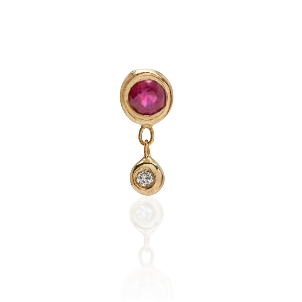 Tiny bezel stud with ruby