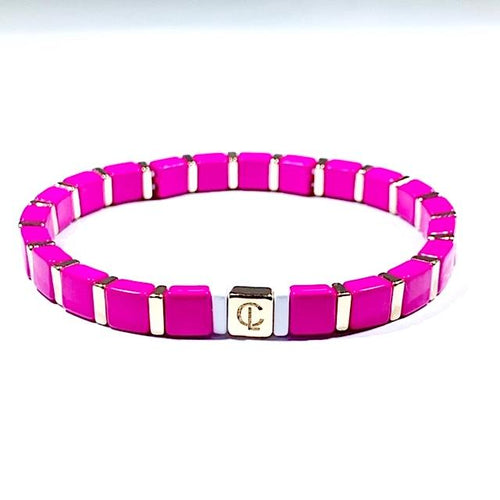 Tiny Tile Bracelet Gold/Hot pink
