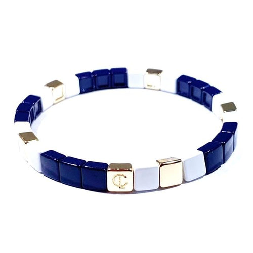 Tiny Tile Bracelet, Navy/White/Gold
