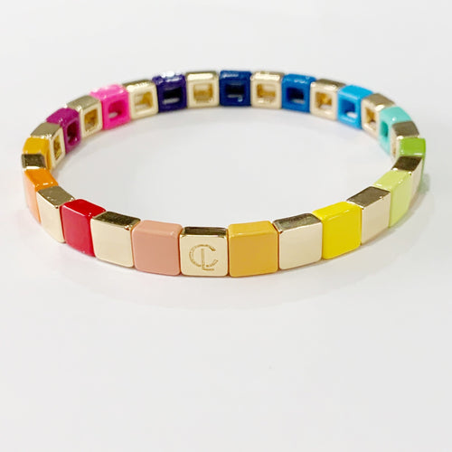 Tiny Tile Bracelet, Rainbow