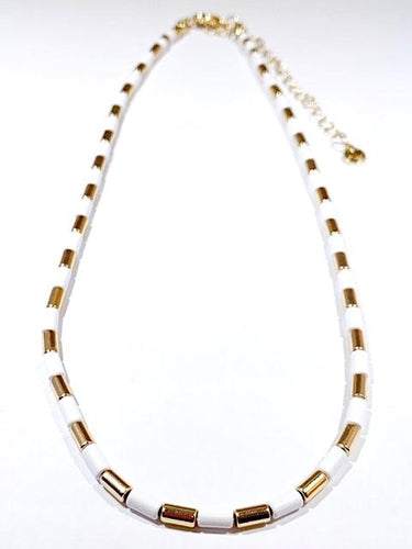 White tube tile necklace