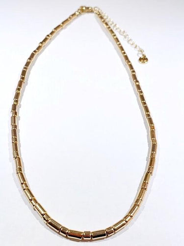 Tube tile gold necklace