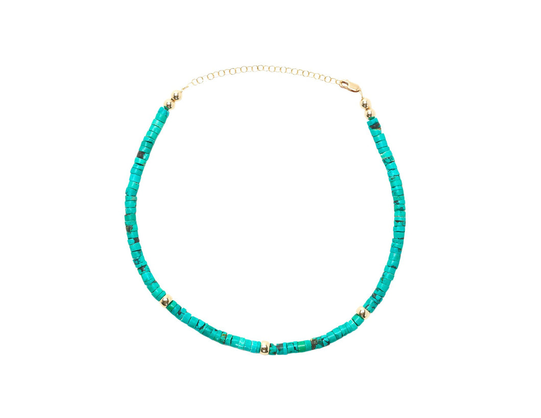 Turquoise Heishi Necklace with Yellow Gold Pattern