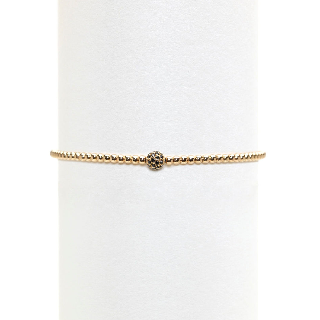 2mm Gold Filled Bracelet with Black Diamond Ball